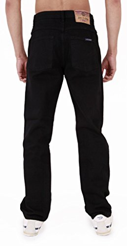 Black Regular Fit Jeans Aztec Da Base Uomo Gamba Dritta Resistente OnZ6T
