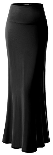 URBAN K Womens ESSENTIAL Basic & Printed Foldable Maxi Skirt, 	#Ubk516_black,XL ()