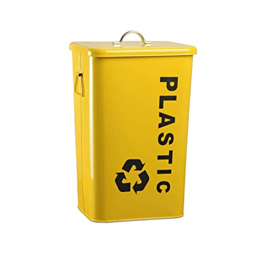 LIUFS Outdoor Thickened Trash Can with Covered Metal Suitcase (Color : Yellow, Size : 40L)