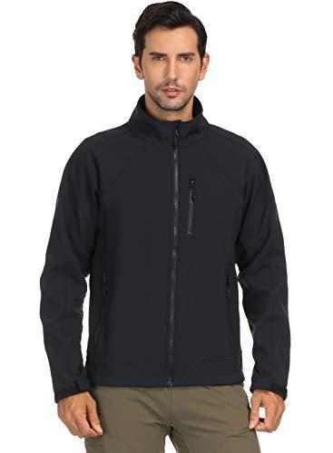 MIER Men's Water Resistant Tactical Jacket Lightweight Outdoor Windproof Softshell Jacket, Microfleece Lined, Black, XXL
