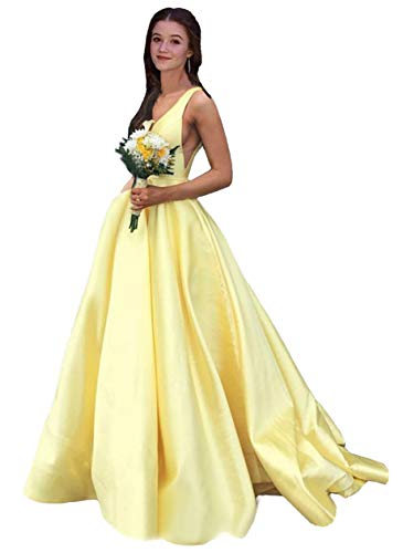 Rjer V Neck Prom Dresses Long A line Satin Ball Gowns with Pockets for Women Formal 2020 Yellow Size 2
