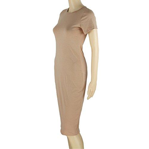 Vacanza a Vestito Girocollo LvRao Bodycon Vestiti Clubwear per Midi Casuale corta Donna Cachi manica Elegante xXn78TnY