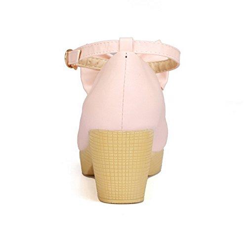 AllhqFashion Damen Rund Zehe Mittler Absatz PU Leder Rein Ziehen auf Pumps Schuhe Pink