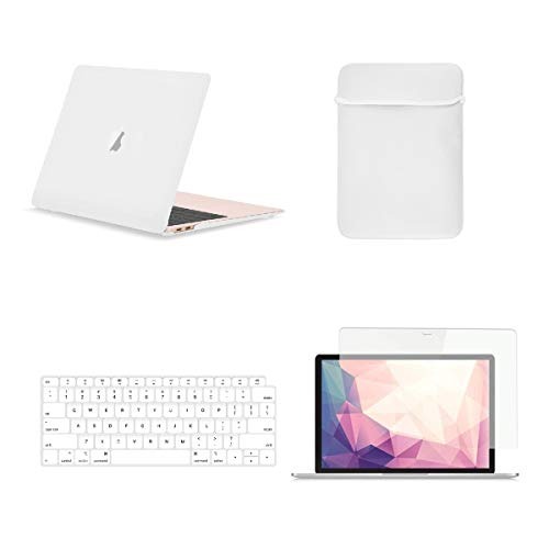 - TOP CASE 4 in 1 Bundle - Rubberized Hard Case, Keyboard Cover, Sleeve, Screen Protector Compatible with 2018 Release MacBook Air 13 Inch with Retina Display fits Touch ID Model: A1932 - Satin White