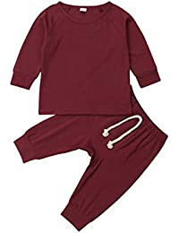 Baby Unisex Pajamas, Top with Pants Set 2 Piece Outfit, Organic Cotton Clothing Set for Infant Baby Boys Girls