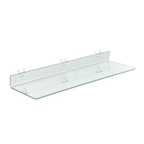 Azar Displays 556009-4pack  Clear Acrylic Shelf for Pegboard or Slatwall (Pack of 4)