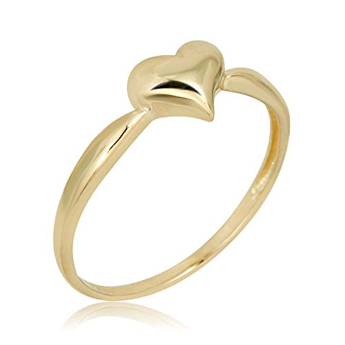 Wide Puffed Heart - AVORA 10K Yellow Gold Polished Puffed Heart Ring