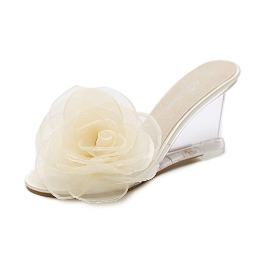 ab02228d57b86 Sexy Women Crystal Transparent high-Heeled Sandals Transparent Flower  Slippers,Beige,34