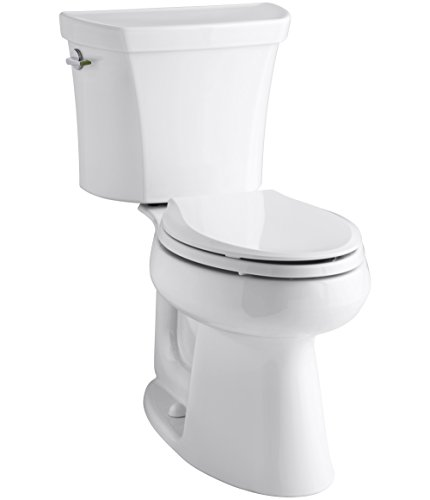 KOHLER K-3989-0 Wellworth Highline Two-Piece Dual-Flush Elongated Toilet with Class Five Flush System and Left-Hand Trip Lever, White - Dual Flush Toilet Systems