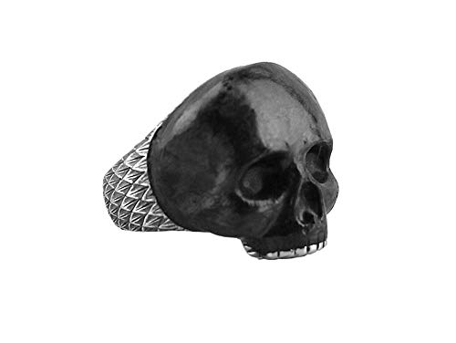 David Yurman Sterling Silver Forged Carbon Carved Skull Ring SZ 10 25R