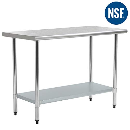 Kitchen Work Table Metal Stainless Steel Work Table with Adjustable Table Foot Scratch Resistent,24 X 72 Inchs