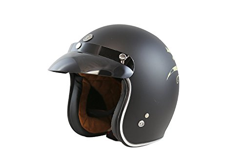 TORC (T50 Route 66) 3/4 Motorcycle Helmet with Graphic (Bullhead) (Route 66 Visor)