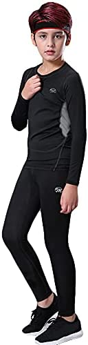 MeetHoo Thermal Underwear Set for Boys, Fleece Lined Long Johns Soft Compression Base Layer for Kids (Size 8-1