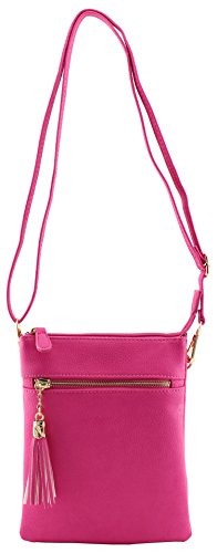 strap functional Vegan and bag soft crossbody leather with Fuchsia compartments tassels wristlet multi faux 66vqU