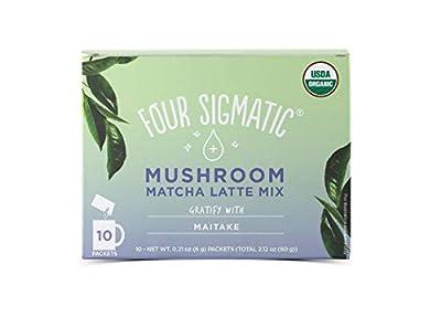 Four Sigmatic Matcha Latte with Maitake Mushroom Powder - Dairy-Free - USDA Organic with Coconut Milk Powder - Gratify - 10 Count