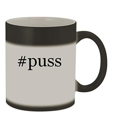 #puss - 11oz Color Changing Hashtag Sturdy Ceramic Coffee Cup Mug, Matte Black ()