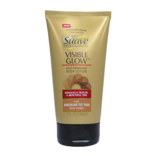 Suave Professionals Visible Glow Self Tanning Body Lotion, Medium to Tan 5 oz (Single)