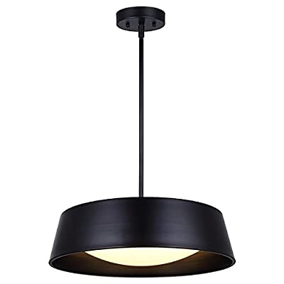 """Canarm LCH131A17BK Dion 17 1/4In Wide Rod Led Chandelier - Size: 17 1/4"""" W x 13 1/2"""" - 55 1/2"""" H Dimmable (Compatible Dimmers: Leviton # 742-6672-HLW , 722-6674-PDW, Lutron # SCL-153PH-WH) 26.5W LED, 1150 Lumens thru the lens - kitchen-dining-room-decor, kitchen-dining-room, chandeliers-lighting - 31BybnRHDfL. SS400  -"""