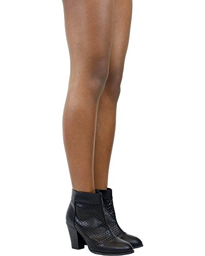 Forever Womens Stack Heel Bootie - Black Black/Laser Cut ZDGlbfnhi5