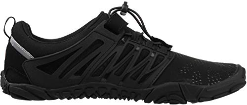 WHITIN Men's Trail Running Shoes Minimalist Barefoot 5 Five Fingers Wide Width Toe Box Gym Workout Fitness Low Zero Drop Male Socks Black Size 9 by WHITIN (Image #4)