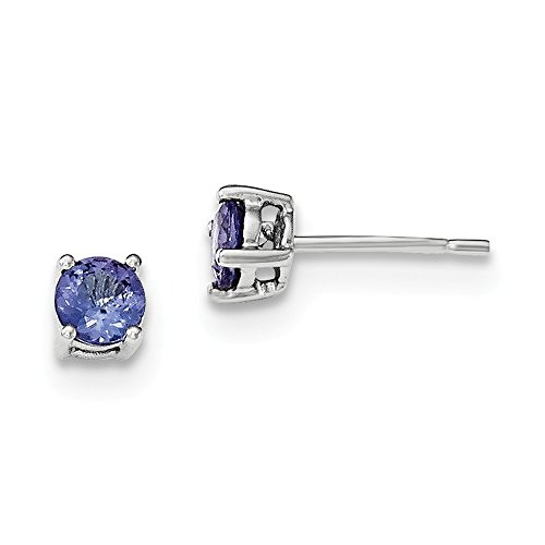 Sterling Silver Round Tanzanite Post Earrings by CoutureJewelers