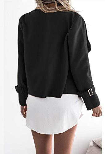 Womens Outwear Gira Top Rkbaoye Aprire Lana Di Nero Anteriore Giù Camicetta Coat q7q1xnvwpr
