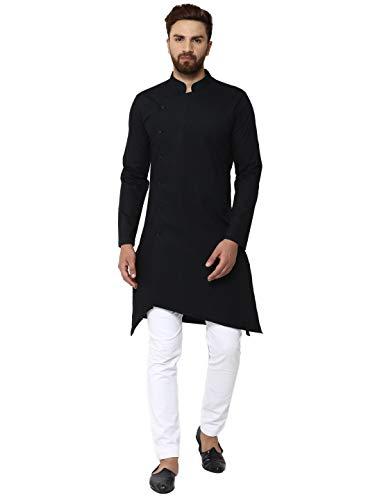 - Men's Kurta Pajama Set Long Sleeve Button Down Cotton Shirt Pyjama Indian Wedding Party Dress Black