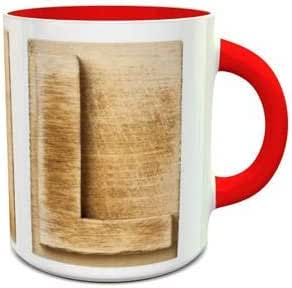 White and Red Ceramic Mug with Wooden Colored Alphabet L Design 292