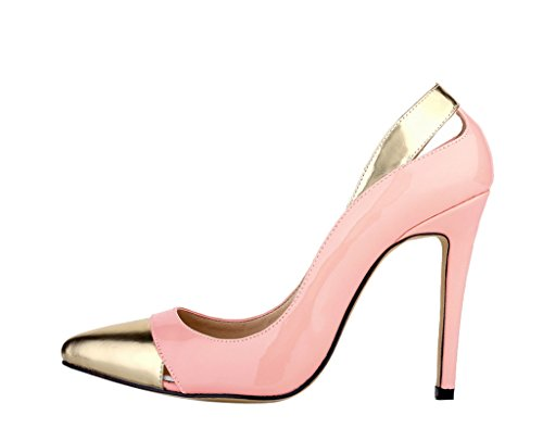 On Sexy Pink Pointed Dress Pumps Heeled Fashion Women's Toe Shoes High Patent PU Slip 5XaxPwq