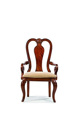 Anne Arm Queen Chairs 2 - Wood Dining Chair with Cotton Upholstery - Dining Chair with Queen Anne Back and Curved Legs - Set of 2 - Rich Auburn