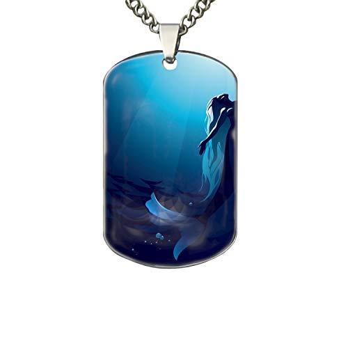 PANQJN Aluminum Mermaid Underwater Tag Pendant Necklace (Printed)