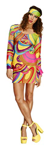 Smiffys Women's Fever 70's Flower Power Costume, Dress and Head Scarf, Retro, Fever, Size 14-16, 30462