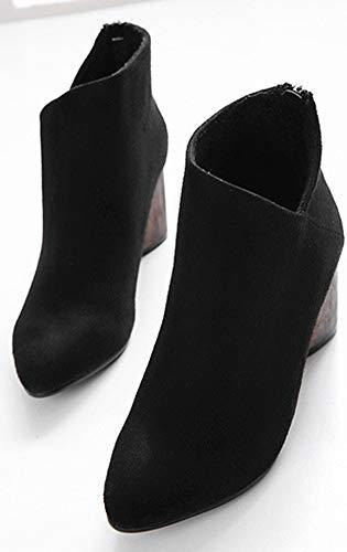 Noir Aisun Avec Talon Pointue Bloc Classique 6cm Zip Bottines Femme 6a0q6z