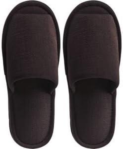 (まとめ) TANOSEE 外縫いスリッパ ブッチャー 大きめM ブラウン 1足 【×5セット】