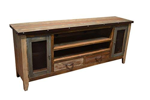Crafters Weavers 76 Inch Antique Finish TV Stand Media Console