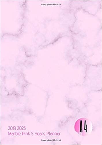 2019-2023 Five Year Planner A4 Marble Pink Goals Monthly ...