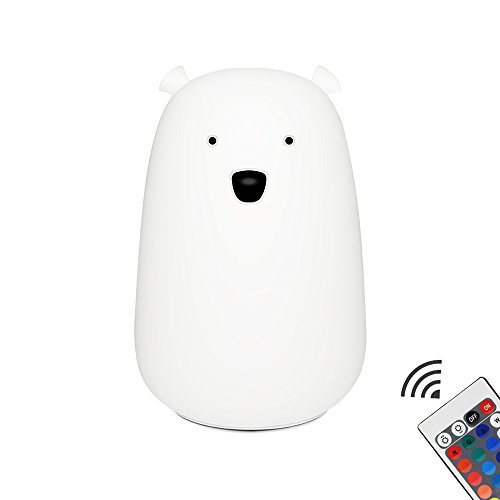 Night Light Lamp LED Lighting Cartoon Lauco Cute Bear,Silicone Multicolor USB Rechargeable Soft Nursery Lamp for Baby Kids Toddler Boys Girls,and Wireless for Bedroom,Kitchen-Tap+Remote Control by Lauco
