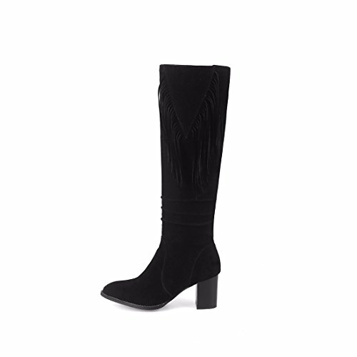 Autumn Black heels BOOTS size winter BIKER and fringed boots boots scrub with thick high tube ppqrA6