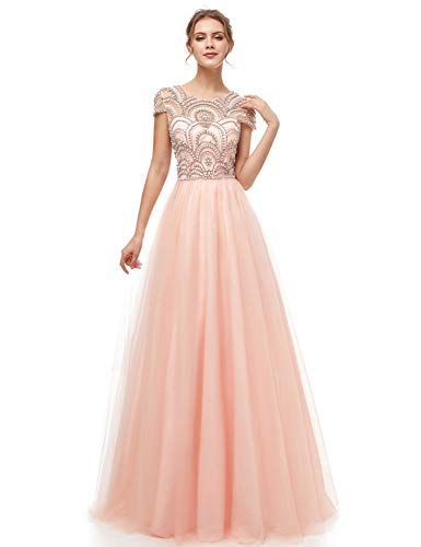 Sarahbridal Women's Beaded Bodice Prom Dresses Long Tulle A Line Short Sleeve Pageants Party Gowns Blush US6
