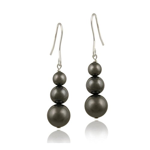 (Sterling Silver Simulated Dark Gray Pearl Drop Earrings Made With Crystal Elements)