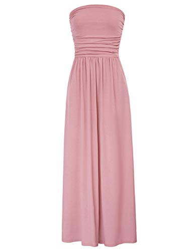 - Women's Elegant Maxi Long Dress Bandeau Dress Empire Waist Size L Pink