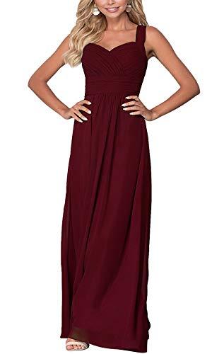 Aofur Womens Evening Wedding Long Dresses Summer Sleeveless Casual Maxi Dress Plus Size (Large, Burgundy)