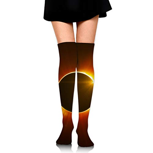 Solar Eclipse High Knee Socks For Boots Long Dress Compression Polyester Sox Leg Tube Ideal -