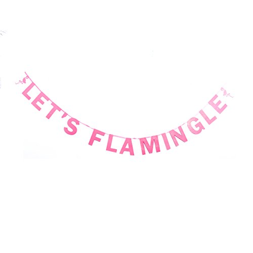 Tinksky Lets Flamingle Bunting Banner Hawaii Party Supplier Glitter Paper Hanging Garland Decoration 3M