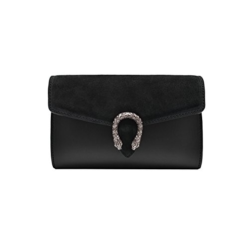 RONDA CLUTCH Italian Baugette clutch mini wallet cross body bag with nickel chain smooth stiff leather and suede (Clutch black) ()