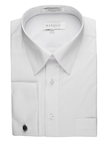 (Marquis Men's 009F Regular Fit French Cuff Solid Dress Shirt, White, 20/34-35 Sleeve)