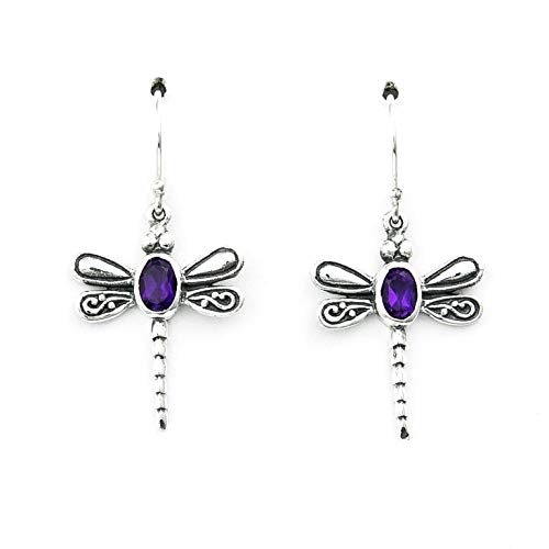 Silver Ring Detailed Dragon Sterling - DRAGONFLY STERLING SILVER 925 DANGLE EARRINGS WITH OVAL AMETHYST GEMSTONES