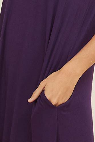 Annabelle Round Neck Casual Violet Fit Women's Dresses Sleeve Maxi Comfy Short Pockets Loose fFBfSq