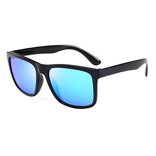 BEEAN Polarized Mirrored TR90 Lightweight Sunglasses Classic Retro Sun Glasses for Men Women, Black, ()