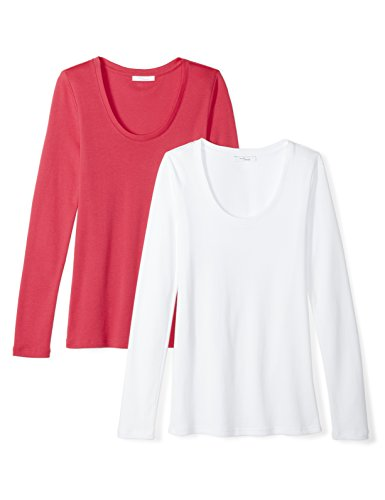(Amazon Brand - Daily Ritual Women's Midweight 100% Supima Cotton Rib Knit Long-Sleeve Scoop Neck T-Shirt, 2-Pack,)